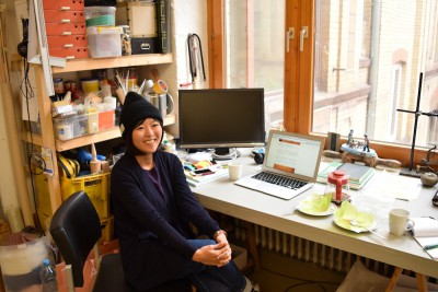 亜希さんのオフィス。スタジオを間借りしている。
