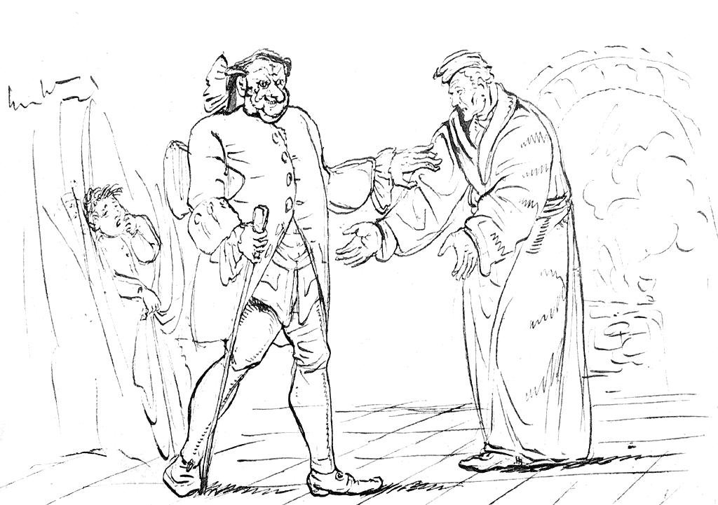ホフマン自筆の『砂男』挿絵。いわゆる「本の挿絵」的な絵よりも、はるかに現代マンガ的なタッチで描かれている点に驚かされる。やはり本当に異能の人だったのだろう。