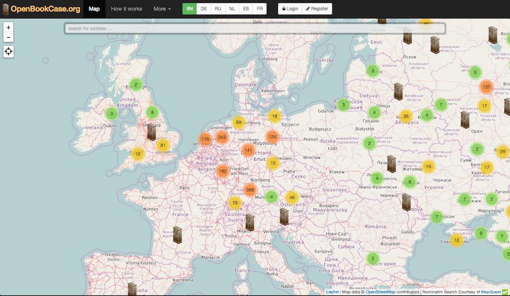 ドイツを中心にパブリック本棚が展開しているのがわかる(OpenBookCase.orgウェブサイトのマップページより)