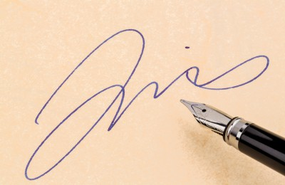 signature and pen
