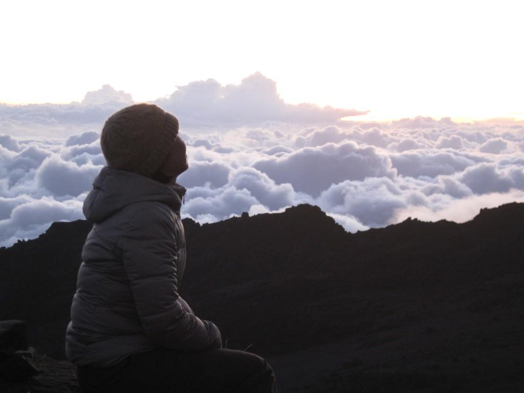 4,500m付近での雲海と上山さん