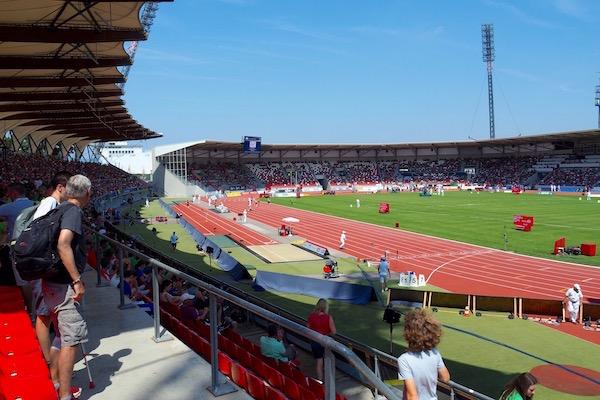 エアフルトの多目的なスタジアム「シュタイガーヴァルト シュタディオン」がドイツ国内陸上競技選手権の会場になった Photo: Aki SCHULTE-KARASAWA