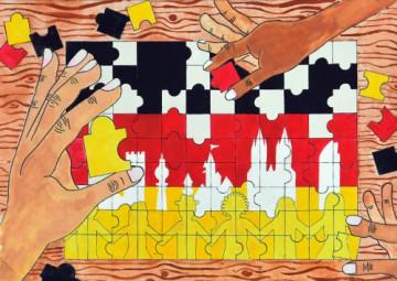 小学校の部 第2位 『みんなで創るカラフルドイツ』 石井 智大 さん(山都町立清和小学校) ©German Embassy Tokyo