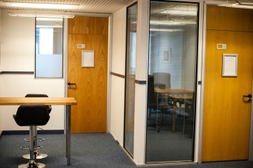 Newly constructed office, perspective of corridor