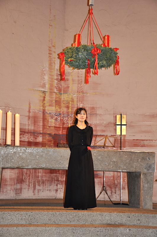 教会で行われた日系合唱団の演奏会で、ソロを歌唱。
