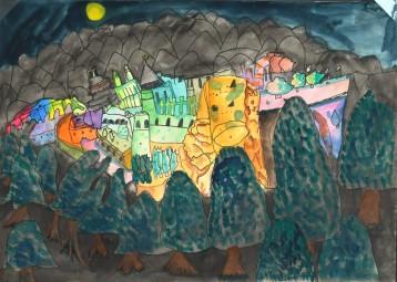 小学校の部 第3位 『ハイデルベルクの夜景』 松井 優李 さん(守谷市立黒内小学校) ©German Embassy Tokyo