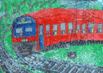 小学校の部 第1位 『雪をけちらして走るドイツのIRE』 鈴木 成 さん(守谷市立郷州小学校) ©German Embassy Tokyo