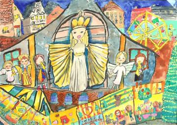 小学校の部 ローテンブルク賞 『クリスマスマーケットの始まりをつげるニュルンベルクのクリストキント』 北川 愛子 さん(つくば市立二の宮小学校) ©German Embassy Tokyo