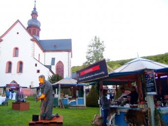中庭で開催されたヘッセン州のイベント。名物料理の屋台が並びました