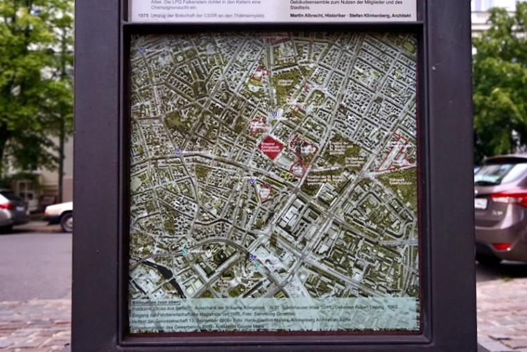 ブラウエライ・ケーニヒシュタット入り口にある地図から、かつての醸造所の場所がわかります