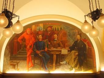 ライプツィヒ大学に留学した森鴎外が描かれた壁画も。