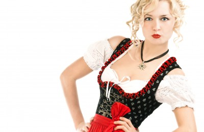 german woman in typical bavarian dress dirndl