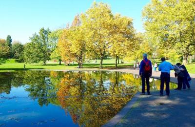 """湖や池などの水辺はヴェストファーレンパーク内にたくさん。水面に映る""""逆さ紅葉""""が美しく、多くの人が立ち止まっていた Photo: Aki SCHULTE-KARASAWA"""