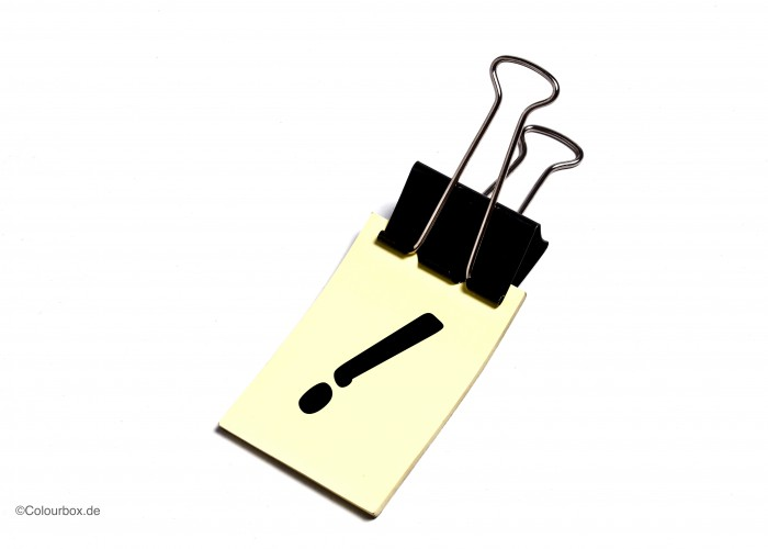 exclamation mark on paper