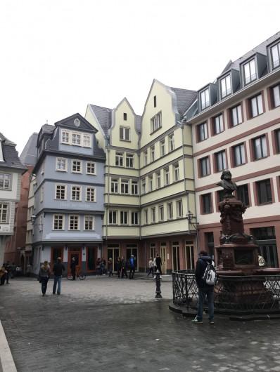 新・旧市街の町並み。泉の銅像はフランクフルト出身の詩人Friedrich Stoltzeです。 ©tomogermany