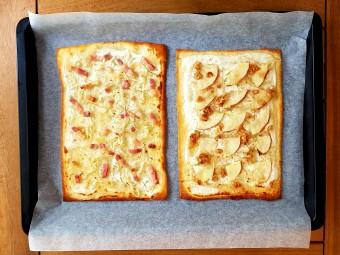 (左)ザワークラウトとベーコン(右)ザワークラウトとりんごとくるみのフラムクーヘン